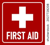 red first aid icon with cross.... | Shutterstock .eps vector #2027728208