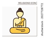 buddhism color icon. buddha...   Shutterstock .eps vector #2027728772