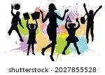 teacher and first graders on... | Shutterstock .eps vector #2027855528