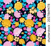floral seamless pattern in folk ...   Shutterstock .eps vector #2027869478