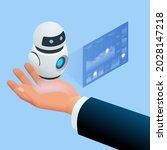 isometric robot analyzes the... | Shutterstock .eps vector #2028147218