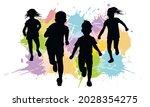 silhouette of running children... | Shutterstock .eps vector #2028354275