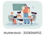 teacher showing children...   Shutterstock .eps vector #2028366932