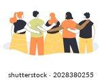 back view of team of cartoon... | Shutterstock .eps vector #2028380255