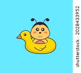 Cute Bee With Duck Buoy. Animal ...