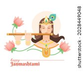 beautiful happy krishna...   Shutterstock .eps vector #2028449048