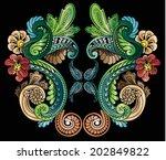 floral folk print colorful | Shutterstock .eps vector #202849822