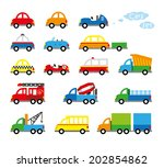 collection of cute baby's cars | Shutterstock .eps vector #202854862