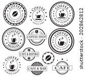 set of vintage coffee stickers  ... | Shutterstock .eps vector #202862812