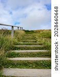 Wooden Step Pathway Up Cliff....