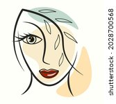 line art portrait of a brooding ...   Shutterstock .eps vector #2028700568