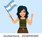 happy young argentinian woman... | Shutterstock .eps vector #2028940385