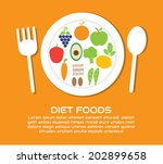 diet foods vector cartoon... | Shutterstock .eps vector #202899658