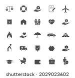 insurance silhouette vector... | Shutterstock .eps vector #2029023602