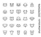 Stock vector set of outline stroke animal icons vector illustration 202905496