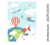 airplanes and air balloons and...   Shutterstock .eps vector #2029132352
