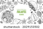 falafel cooking and ingredients ... | Shutterstock .eps vector #2029153502