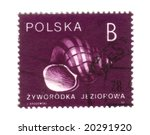 Old polish stamp with shell - stock photo