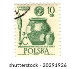 Old polish stamp with pottery - stock photo