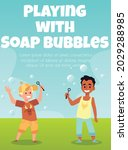 playing soap bubbles topic of... | Shutterstock .eps vector #2029288985