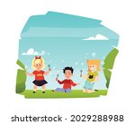 happy kids fun play with flying ... | Shutterstock .eps vector #2029288988