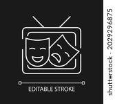 tv drama white linear icon for... | Shutterstock .eps vector #2029296875