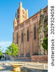 Small photo of ALBI, FRANCE - JUNE 26,2021 - Cathedral of Saint Cecilia in the streets of Albi. Albi is a commune in southern France.