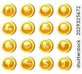 set of golden coins for game...