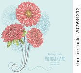 vintage card with aster flowers.... | Shutterstock .eps vector #202934212