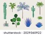 floral set. exotic trees ... | Shutterstock .eps vector #2029360922