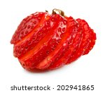 red ripe strawberry  isolated... | Shutterstock . vector #202941865