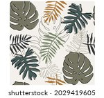 tropical palm leaves seamless...   Shutterstock .eps vector #2029419605