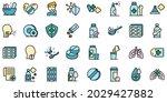cough drops icons set. outline... | Shutterstock .eps vector #2029427882