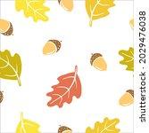 seamless pattern with oak... | Shutterstock .eps vector #2029476038