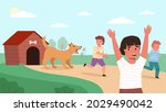 kids run away from dog....   Shutterstock .eps vector #2029490042
