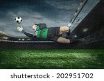 football golkeeper with ball in ... | Shutterstock . vector #202951702