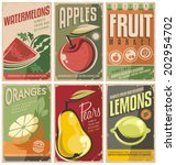collection of retro fruit... | Shutterstock .eps vector #202954702
