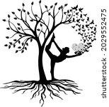 women meditation with tree  ...   Shutterstock .eps vector #2029552475