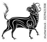 stylized bull or calf. taurus... | Shutterstock .eps vector #2029621508