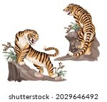 indian tigers isolated on black ... | Shutterstock .eps vector #2029646492