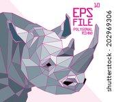 polygonal rhino illustration | Shutterstock .eps vector #202969306