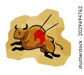 rock art. scene of bull hunt.... | Shutterstock .eps vector #2029694762