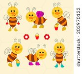 Assortment of funny vector bees