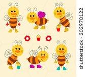 assortment of funny vector bees | Shutterstock .eps vector #202970122