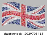 mosaic waving united kingdom... | Shutterstock .eps vector #2029705415