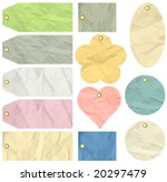 twelve crumple  labels   vector ...   Shutterstock .eps vector #20297479