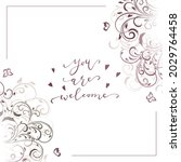 wedding card with floral... | Shutterstock .eps vector #2029764458