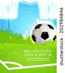 soccer ball on stadium field.... | Shutterstock .eps vector #202984846