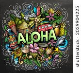 Aloha Hand Drawn Cartoon Doodle ...