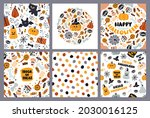 a set of cards for halloween.... | Shutterstock .eps vector #2030016125